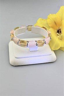 Náramky - morganit s citrínom náramok široký - náramok ružového slnka - 9714420_