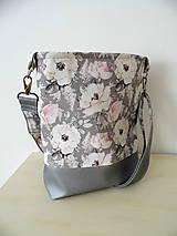 Kabelky - kabelka Ruže a strieborná koženka - 9714232_
