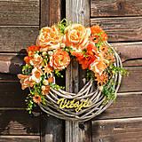 Dekorácie - Oranžový veniec Vitajte - 9713385_
