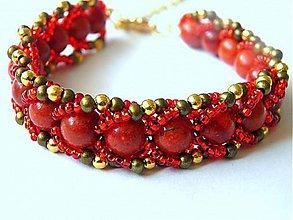 Náramky - Obšívaný náramok Červený koral-Fénix - 9714713_