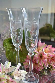 Nádoby - Sklo-čaše svadobné - 9716726_