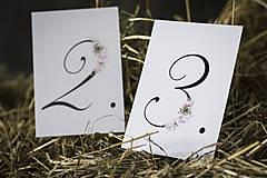 Papiernictvo - Číslovanie na svadobný stôl - KVETY - 9713578_