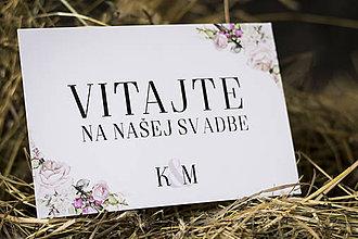 """Papiernictvo - Tabuľka s nápisom """"Vitajte na našej svadbe II."""" - 9713552_"""