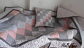 Úžitkový textil - Sivá patchworková súprava - 9716469_