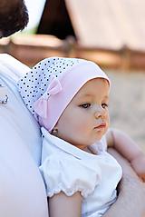 Detské čiapky - Letná šatka mini bodky & pink - 9716680_