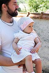 Detské súpravy - suknička + šatka mini bodky & pink - 9716716_