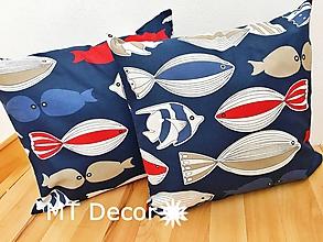 Úžitkový textil - RYBY, RYBKY, RYBIČKY - dekoračný vankúš, obliečka - 9714468_