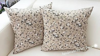 Úžitkový textil - Kvetinková - VANKUŠE / obliečka, režné - 9714578_