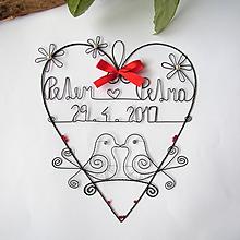 Dekorácie - svadobné srdiečko 25 cm s dátumom a menami (Červená) - 9717103_