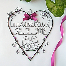 Dekorácie - svadobné srdiečko 25 cm s dátumom a menami (Fialová) - 9717108_