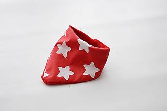 Detské doplnky - Nákrčník červený s hviezdami + červený wellsoft - 9718494_