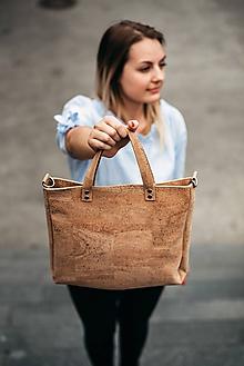 Veľké tašky - Korková kabelka natural - 9718165_