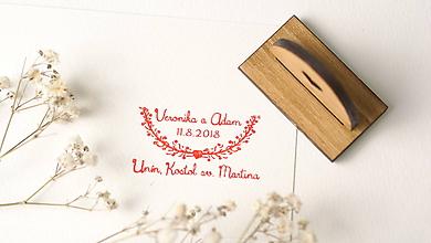 Drobnosti - Drevená pečiatka svadobná obdĺžniková - 9719309_