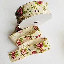 Galantéria - bavlnená stuha Romantické ruže, šírka 4 cm - 9717601_