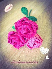 Dekorácie - Háčkovaná ruža - 9720342_