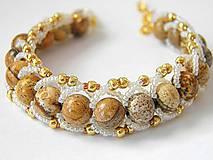 Náramky - Obšívaný náramok Jaspis Kalahhari-Zlatý piesok - 9720005_