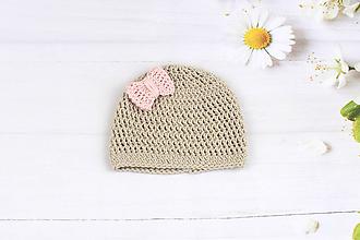 Detské čiapky - Béžovo-ružová letná čiapka EXTRA FINE - 9717886_