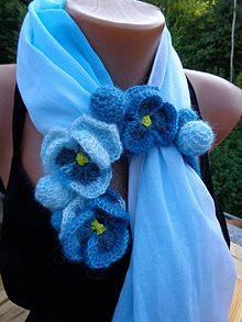 Šály - Modra salka s kvetinkami 8 - 9719460_
