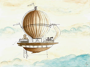 Obrázky - Air balloon III, fantasy, ilustrácia, obraz - 9717188_