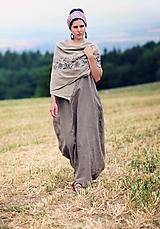 Šaty - Lněné maxi šaty - 9716904_