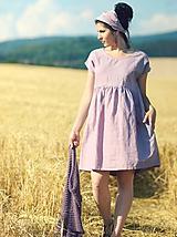 Mauve šaty lněné