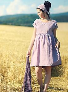 Šaty - Mauve šaty lněné - 9719201_