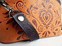 """Kabelky - PETIT """"Folk"""" mini kabelka s vypaľovaným obrázkom - 9718505_"""