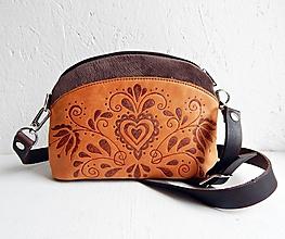 """Kabelky - PETIT """"Folk"""" mini kabelka s vypaľovaným obrázkom - 9718496_"""
