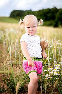 Detské oblečenie - Melónové háčkované kraťasy - 9719826_
