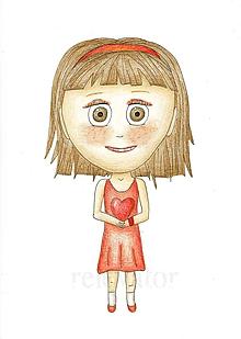 Kresby - Darovať srdce - kresba dievča 3 - 9717151_