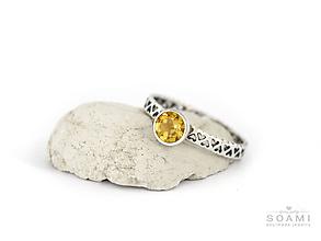 Prstene - CERTIFIKÁT 925 Strieborný prsteň s prírodným citrínom - 9723111_