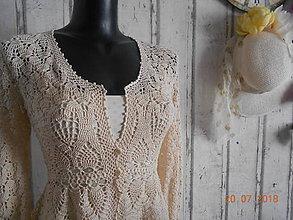 """Svetre/Pulóvre - """"Ladies Vintage Jacket"""" - háčkovaný svetrík vo farbe ecru - 9722322_"""