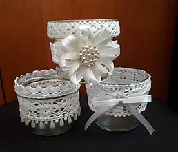 Svietidlá a sviečky - recy svadobné svietniky s mašličkami - 9722418_