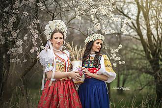 Ozdoby do vlasov - Svadobná bielo-krémová kvetinová bohato zdobená parta - 9720453_