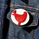 Odznaky/Brošne - Brošňa červená Sliepočka - 9722270_