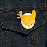 Odznaky/Brošne - Brošňa žltá Sliepočka - 9722297_