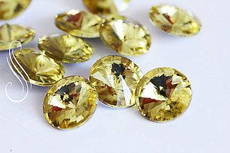 Komponenty - kabošon sklenený rivoli 12mm/1ks (Žltá) - 9723426_