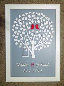 Dekorácie - svadobná kniha hostí/drevený strom 18 - 9720696_