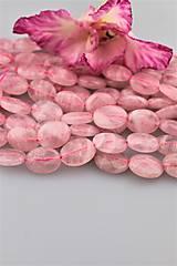 ruženín Madagaskar korálky - brúsené ováliky 12x16mm