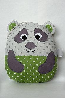 Hračky - #Medvedík - panda - vankúšik (Zelená) - 9721909_
