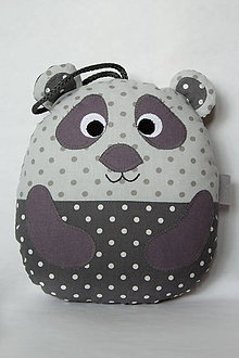 Hračky - #Medvedík - panda - vankúšik (Šedá) - 9721910_