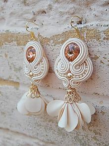 Náušnice - Peach flowers - 9720692_