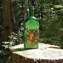 Nádoby - Poľovnícka fľaša Trofej zelená - 9720422_