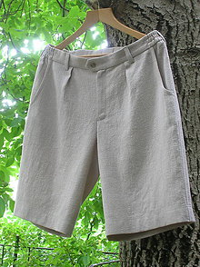 Oblečenie - Pánske ľanové kraťasy - 9720581_