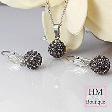 Sady šperkov - ocelový set- náušnice a náhrdelník šedá - 9723215_