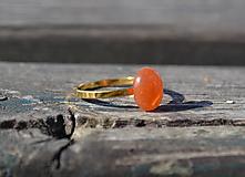 Prstene - Karneol pozlátený prsteň Ag 925 - 9722577_