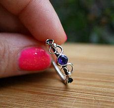 Prstene - Elfský strieborný prstienok s ametystom - 9720800_