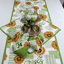 Úžitkový textil - Slnečnice na smotanovej(3) - stredový obrus 135x40 - 9722378_