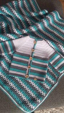 Detské oblečenie - Svetrík a deka pre bábo - 9720874_
