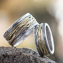 Prstene - Prepletené cesty osudu /kombi + patina/  (Zlatá) - 9723598_